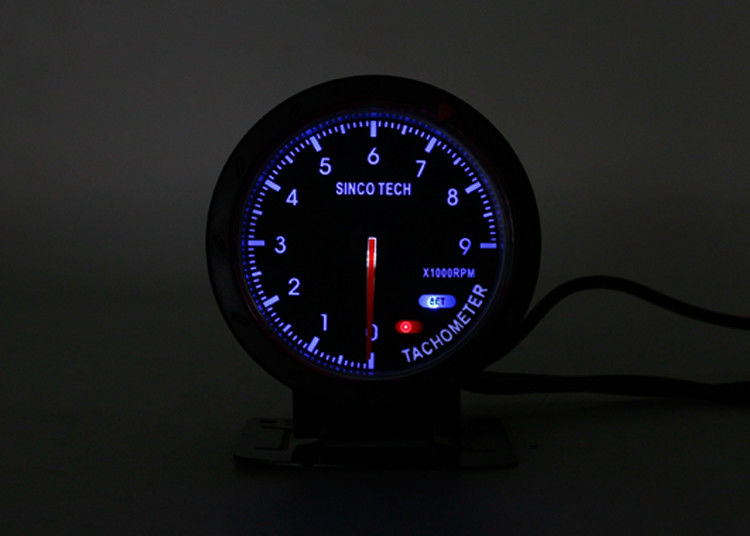 Blue Digital RPM Tachometer , Automotive RPM Meter Circular Instrument