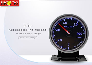 China Racing Car Oil Pressure Gauge , Oil Pressure Meter 0 - 1000 Kpa With LED / Buzzer Warning factory