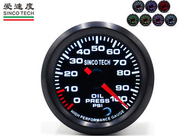 China SINCO TECH Electric Oil Pressure Gauge 52mm PSI Unit 7 Colors Display PM Motor factory